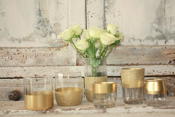 Gold candle holders, Gold wedding decor, Set of 6 Gold dipped vintage vases and votive holders, table decorations, gold glitter, upcycled