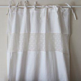 lantlig vit gardin gardinlängd romantisk gardin shabby chic