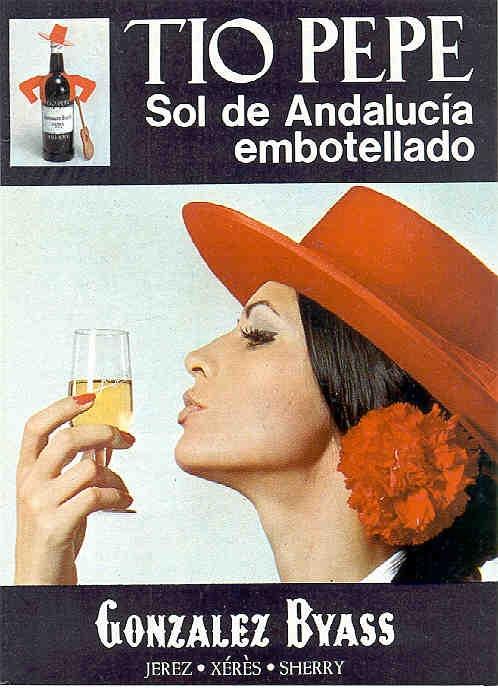 "1975: ""Sol de Andalucía..."". Mujer besando la copa. / 1975: ""Andalusian Sun...."" Woman kissing a Sherry glass."