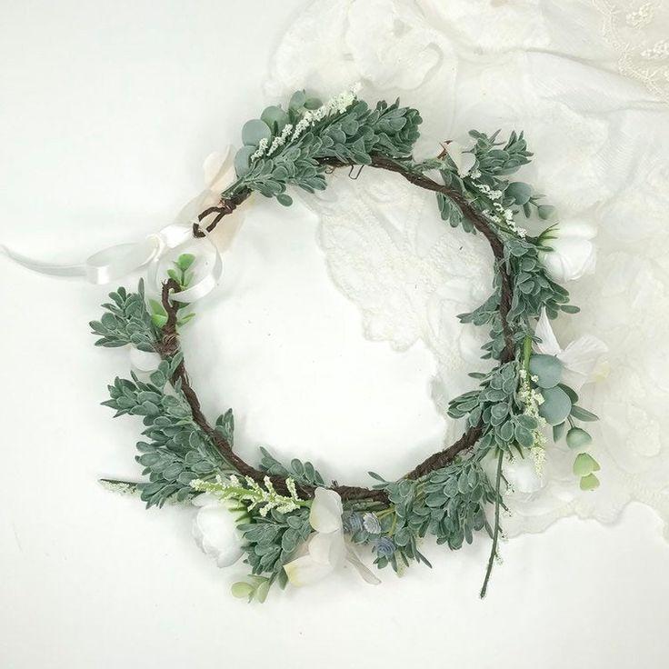 Woodland Wedding Crown Adjustable Crown Astilbe and Hydrangeas White Ranunculus Eucalyptus Greenery Crown White Meadow Crown
