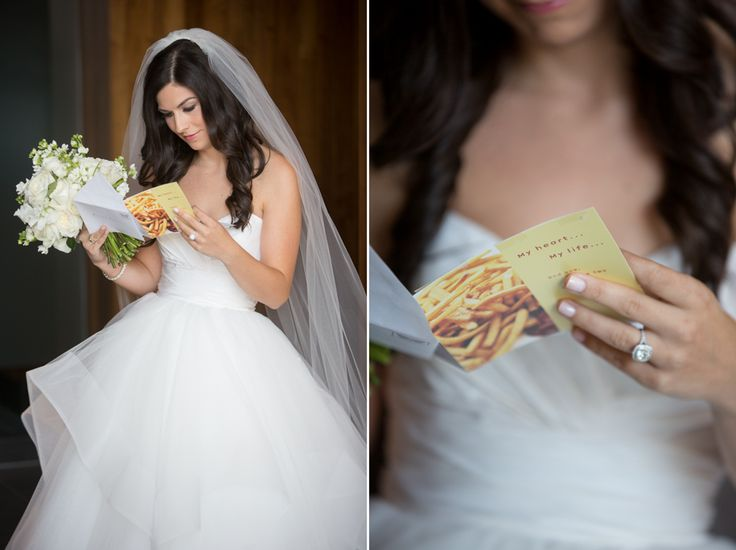 Bride reading card from Groom at Malaparte Terrace :)