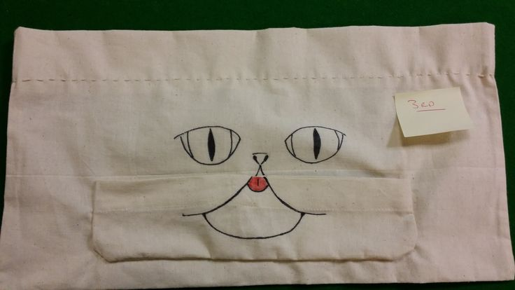 To pass the time on a clinical trial, we challenged our volunteers to customise some canvas shopping bags. This volunteer completely reworked the bag... and gave it teeth!