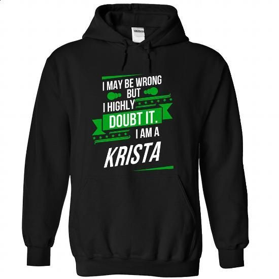 KRISTA-the-awesome - #shirts! #hoodie dress. ORDER NOW => https://www.sunfrog.com/LifeStyle/KRISTA-the-awesome-Black-75264393-Hoodie.html?68278