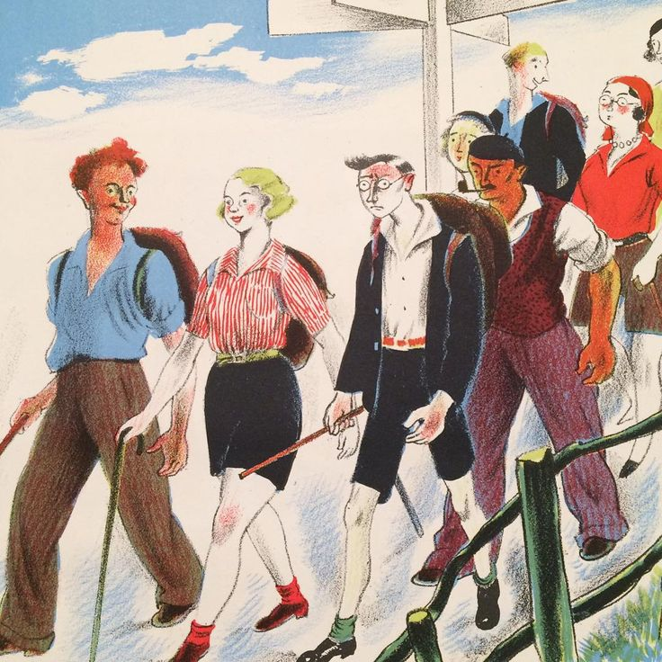 """The Ramblers. Clarke Hutton. Playing gooseberry. The walker with the green socks! Extract from Clarke Hutton's autolithographed 1945 Picture History of…"""