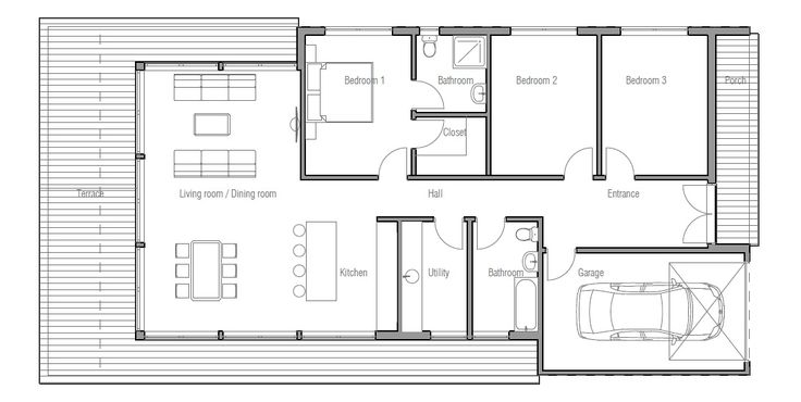 Contemporary Home Plan To Narrow Lot Open Planning