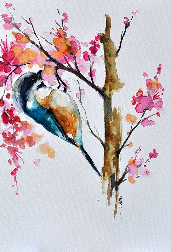 ORIGINAL Watercolor Bird Painting With Colorful by ArtCornerShop