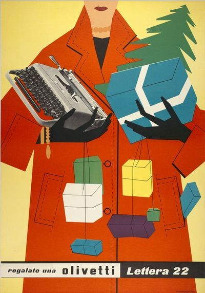 Gorgeous vintage graphic ad for Olivetti typewriters