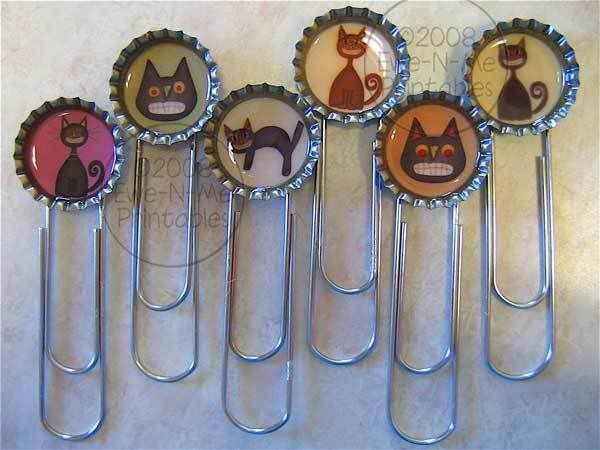 Place cardstock images inside bottle caps and attach to jumbo clips to make cute clip-style bookmarks.