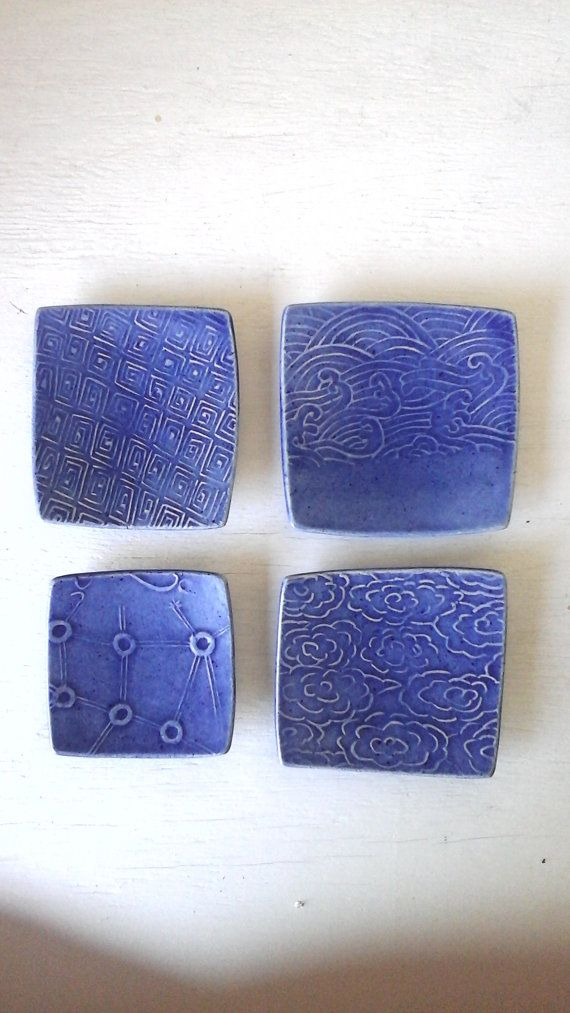 Asian style blue plates set of four square by LouiseFultonStudio