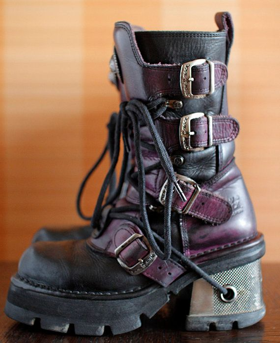 Wish these were in my size! New Rock platform boots black/purple GOTH moto buckles
