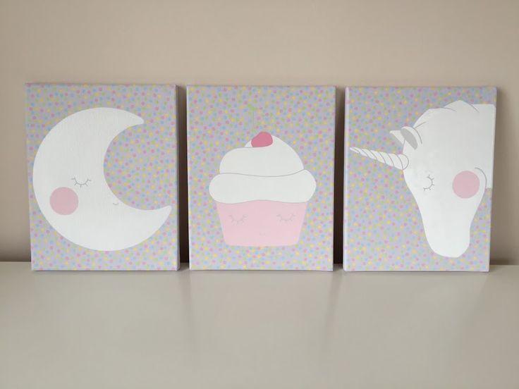 hold, muffin, unikornis, moon, cup cake, unicorn, nursery art, nursery wall art, babaszoba, babaszoba dekor, kislány szoba, kislány szoba dekor, babaszoba dizájn, baby room, kids room, baby room design, kids room design, baby girl room, baby girl design