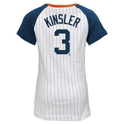 Detroit Tigers Girls' Ian Kinsler Pinstripe T-Shirt Jersey - White XL, Multicolored White