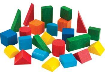 Coloured Wooden Geometric Solids – 24pc