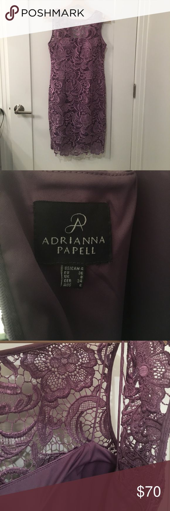 """Adrianna Papell Cocktail Dress Adrianna Papell Lavender Cocktail Dress 👚💜 Size 4. Excellent used condition - no tears, stains, or pulled threads. Worn once to a wedding. Zippered in the back. Very comfortable underlay. Im 5'4"""" and it hit at the knee. Adrianna Papell Dresses"""