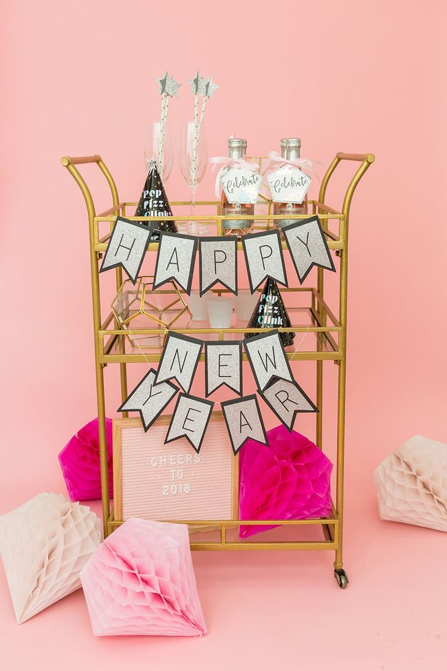 How To Style A New Years Bar Cart With Cricut