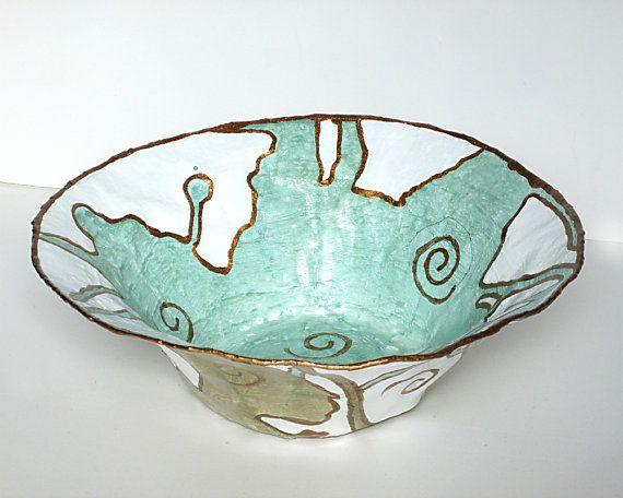 Handmade Decorative Bowl. Paper Mache Bowl. Home by PaperPrezzies, $47.00