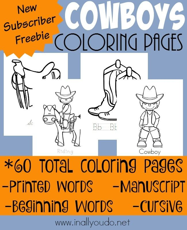 Every Cowboy & Cowgirl will LOVE these fun Coloring pages! Includes 4 different types of handwriting styles, perfect for any age! {60 pages} :: www.inallyoudo.net