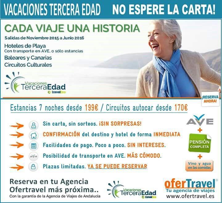 #Vacaciones #Jubilados #Tercera #Edad  No esperes la carta del #Imserso Reserva ya en tu Agencia Ofertravel más próxima. www.ofertravel.es