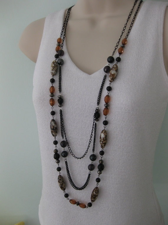 Long Chunky Black Brown Beaded Necklace Multi by RalstonOriginals, $15.00