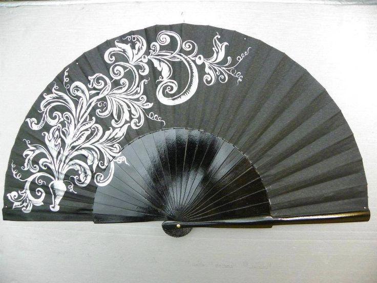 Abanico pintado a mano Diseño Ramo de Hojas