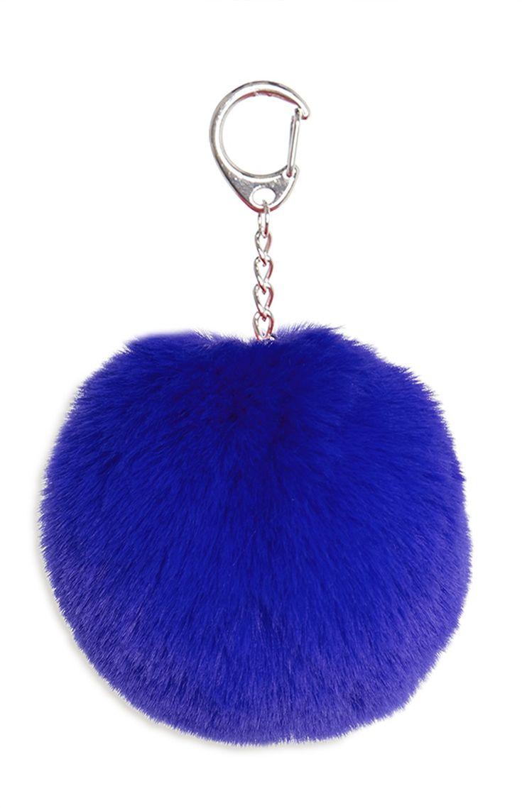 Primark - Blue Faux Fur Pom Pom Keyring