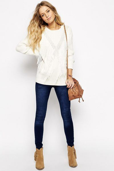Outfit #1: ASOS Fringing Jumper, Pepe Jeans Soho Skinny Jeans and Faith Salisbury Suede Ankle Boots.