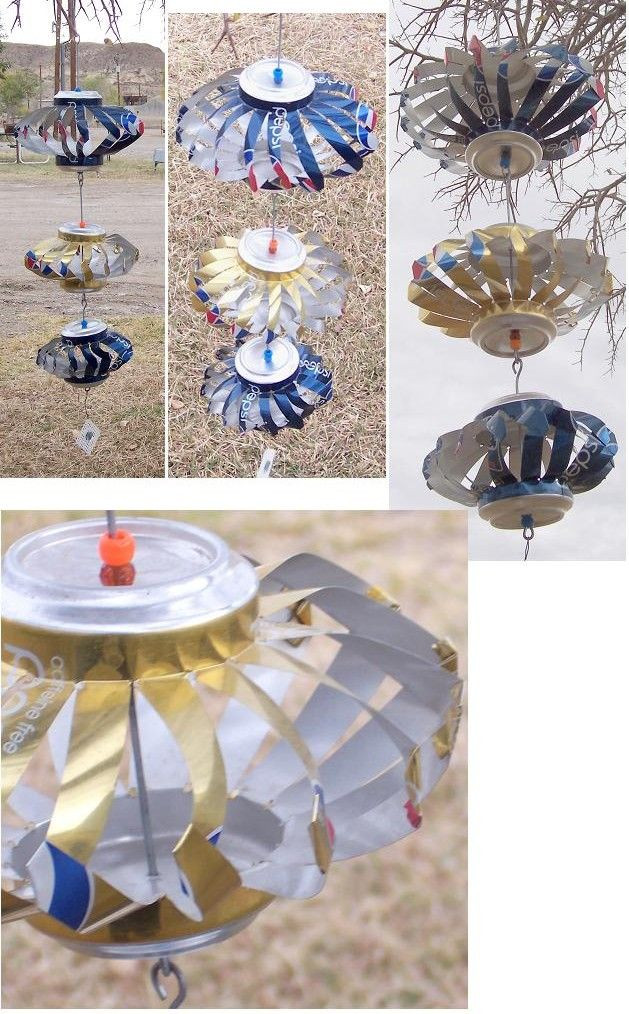 Soda can wind spinners. As seen on Chincoteague. Been wanting to make these for a while.
