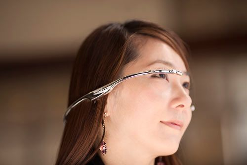 A futuristic, digital device that you wear kind of like backwards glasses except there are earbuds to hold it in place. The prototype that I was able to check out and use myself was pretty cool – it projects a tiny screen in front of your eyes and you can control what you see with your smartphone.