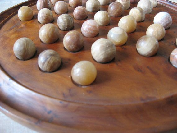 Beautiful Solitaire Game, made from walnut wood burr, hand tooled, & handmade marbles made of marble. Vintage French. Instructions included @PumpjackPiddlewick on Etsy