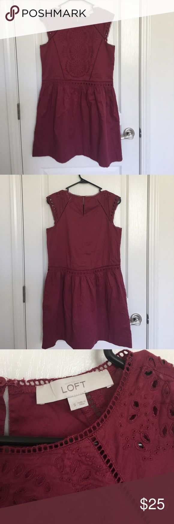 """Loft Eyelet Dress Sz Small Maroon Eyelet dress. Cotton. Lined. Keyhole button closure at back. Length is 34"""". Bust and waist both measure 17"""" across. Only signs of wear is some loose threads throughout, otherwise is in good condition. No trades or PayPal. LOFT Dresses Mini"""