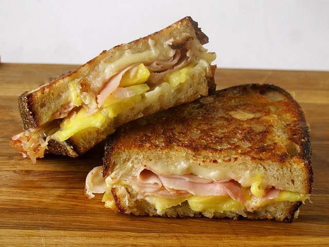 Ham & pineapple in grilled cheese