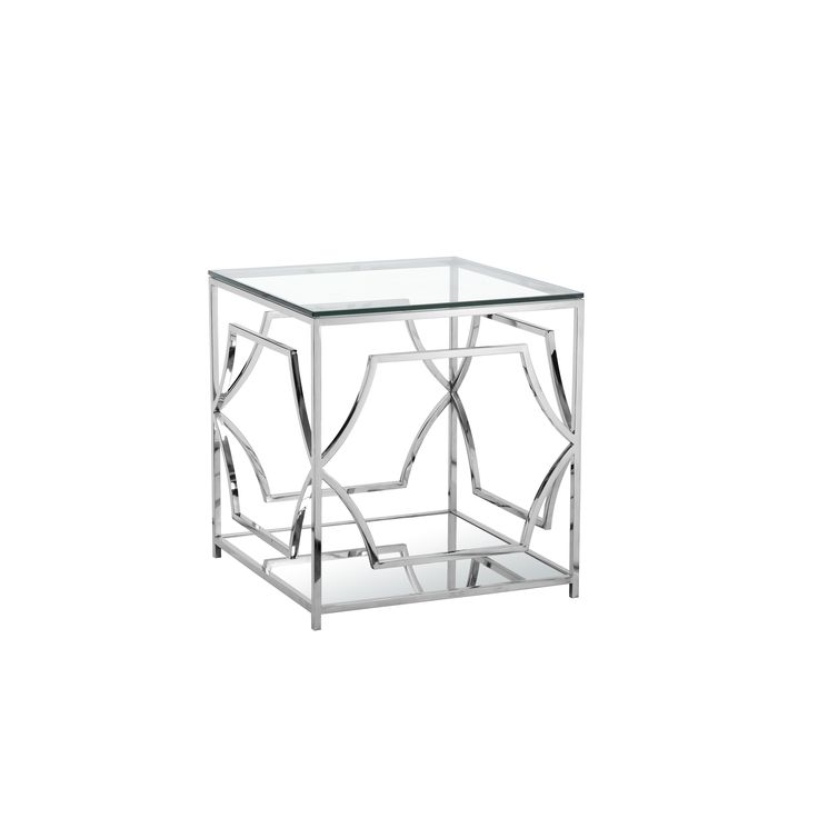 Pangea Edward Steel and Two-tiered Contemporary Side Table