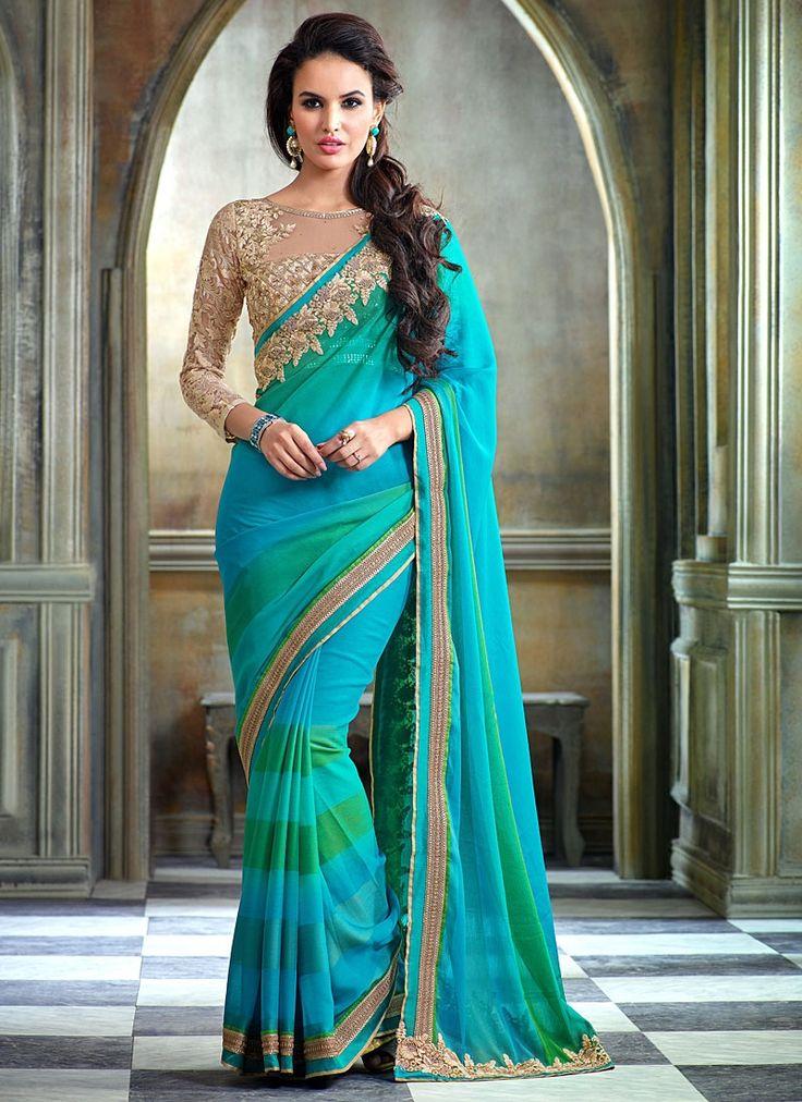Glorious Turquoise Chiffon Saree