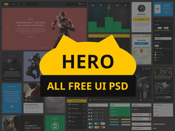 http://downloadpsd.co/superhero-free-ui-kit-psd/ Download Superhero – FREE UI KIT PSD.A clean colorful UI kit PSD include graph stats widgets etc. weather, maps, video player, slider, news, web log, This PSD file is able to make your work simple and all elements are in PSD format. Don't hesitate to put it to use in your upcoming design assignements. This pack is free for commercial use for all your project.Enjoy!