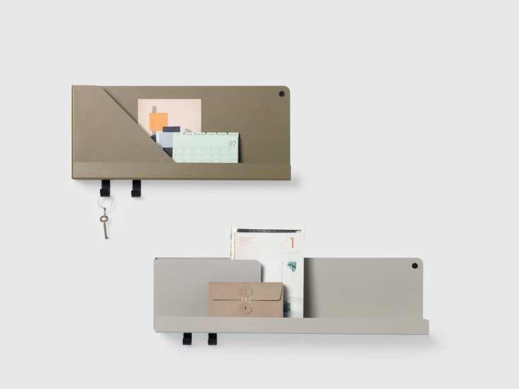 The FOLDED shelving system enlists a simple bending technique where a single sheet of metal is bent almost giving it the look of a paper envelope.