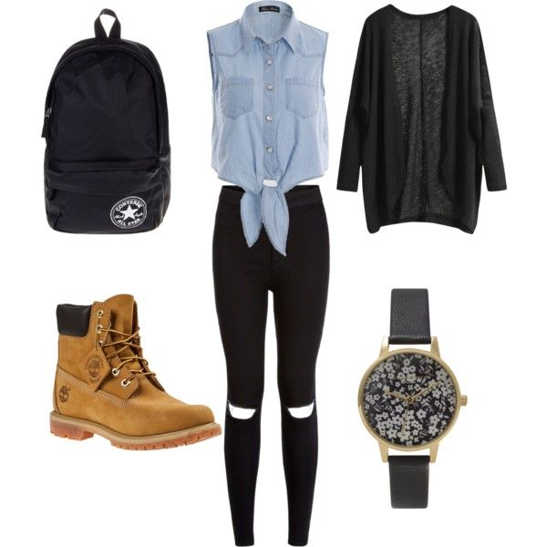 school outfit #3 by paty-porutiu on Polyvore featuring polyvore fashion style Timberland Converse Olivia Burton