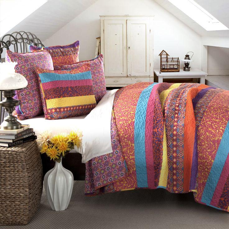Lush Decor Boho Stripe 5-piece King Size Quilt Set