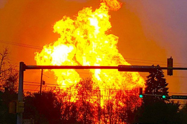 A natural gas pipeline explodes in Salem. Source: Stupiddope.com