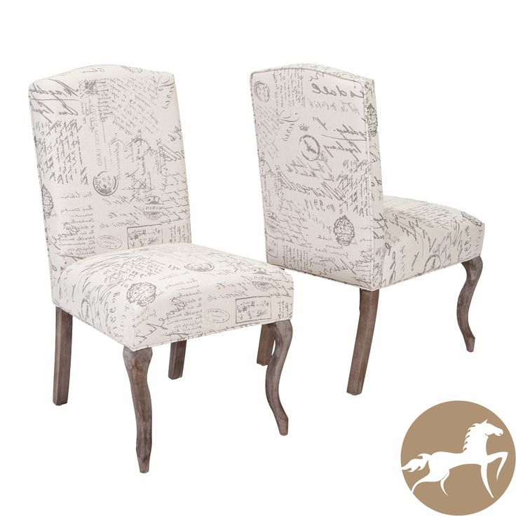 Crown Top French Script Beige Fabric Dining Chair Set of