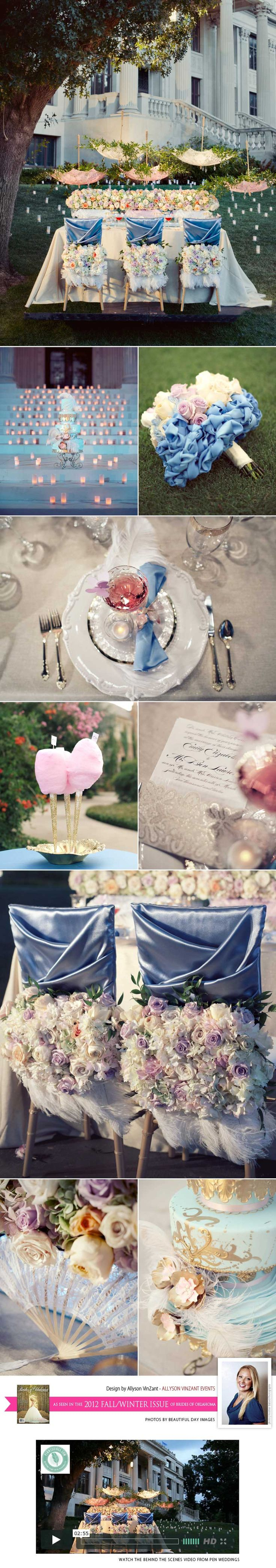 so pretty! Love the upside down umbrellas and satin blue! Blog | Brides of Oklahoma