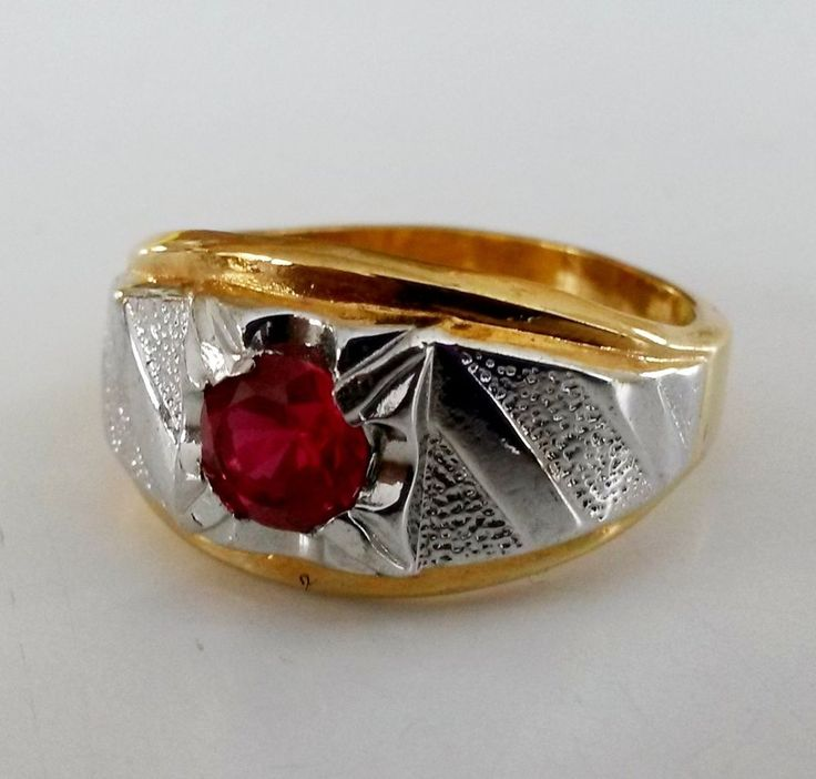 Vintage Vargas 18kt HGE 6mm RUBY 2 Tone Mens Ring Size 12.5 Lind in Jewelry & Watches, Vintage & Antique Jewelry, Costume | eBay