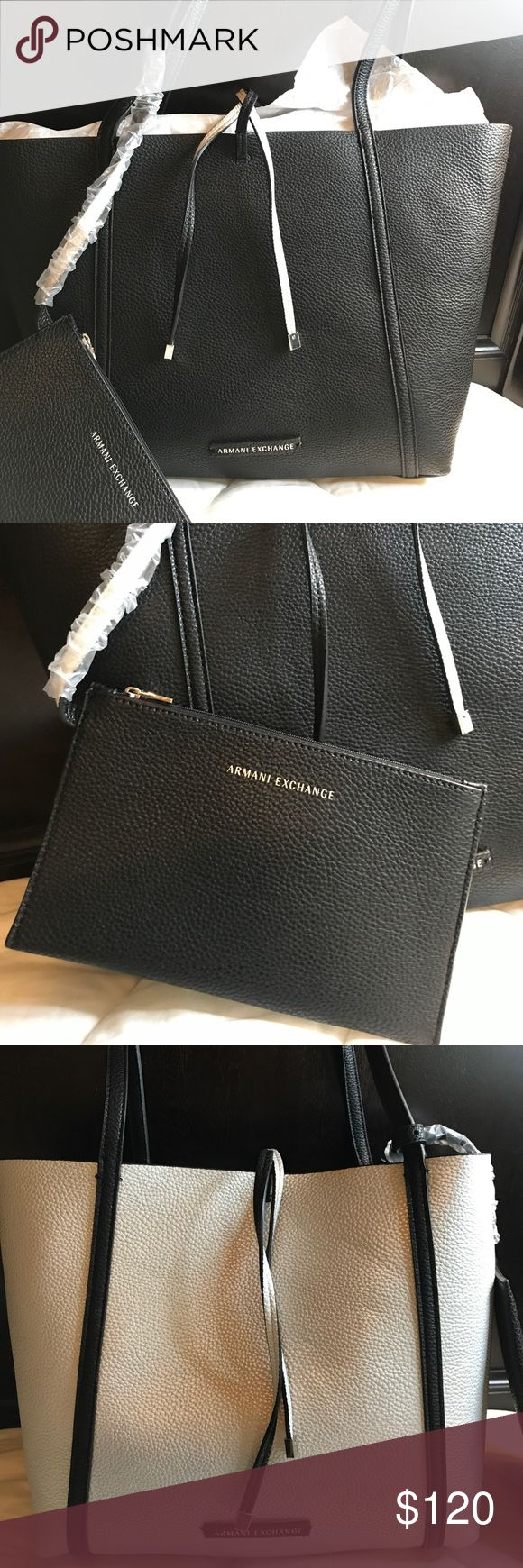Armani Exchange reversible tote bag 👜 Black and silver Reversible Tote Bag with detachable pochette very versatile every day use bag or perfect for a xmas gift 🎁 Armani Exchange Bags Totes