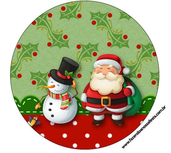 Rótulos para: Latinha,Gelatina,Tampinhas,Adesivos,Marmita Redonda e Toppers Cupcakes Natal Papai Noel e Boneco de Neve: