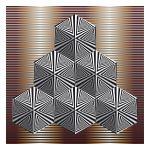 six op art necker cubes