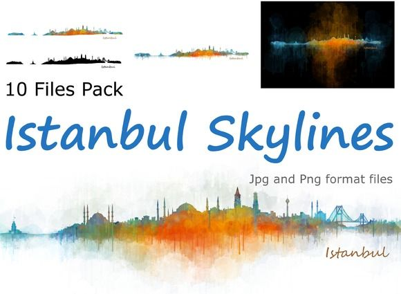 10x files Pack Istanbul Skylines by HQPhoto Store on @creativemarket