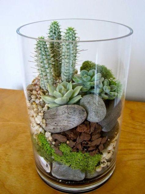 Un mini terrarium fait maison! 20 idées + tutoriel vidéo... Un mini terrarium fait maison. Voici pour vous aujourd'hui une petite sélection de 20 idées créatives afin de réaliser un superbe terrarium miniature pour décorer votre intérieur! Les idé...