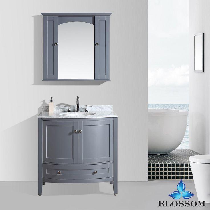 "Rome 36"" Transitional Bathroom Vanity - Charcoal Grey"