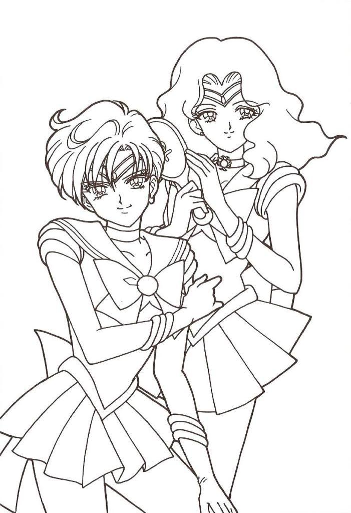 Sailor Uranus & Neptune Coloring Page