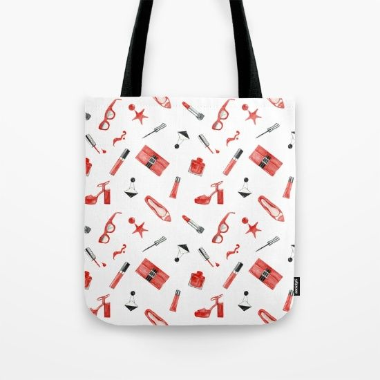 watercolor pattern fashion red and black Tote Bag