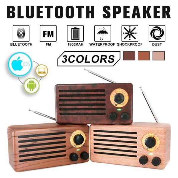 Retro Fm Radio Bluetooth Drewna Ziarna Glosnik Bezprzewodowy Mini Muzyki Stereo Odtwarzacze Boombox Tf Nas Kupic W Nisk Bluetooth Electronic Products Speaker